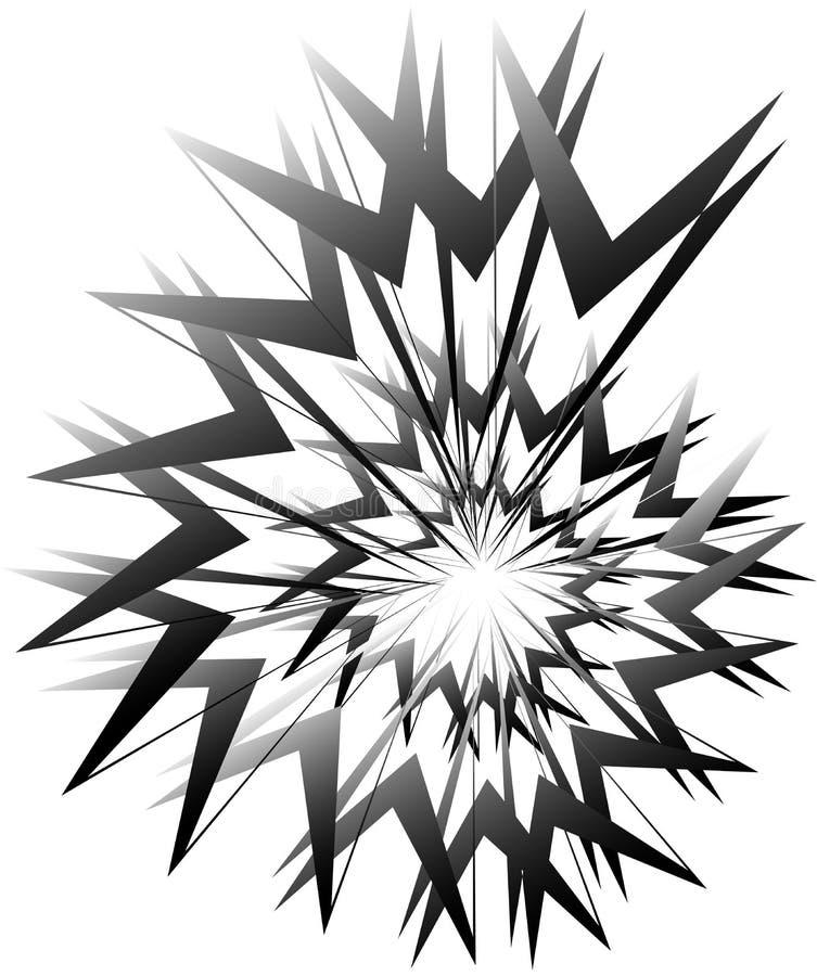 Geometric circular spiral. Abstract angular, edgy shape in rotating fashion. Royalty free vector illustration vector illustration