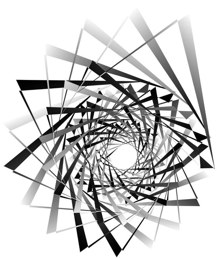 Geometric circular spiral. Abstract angular, edgy shape in rotating fashion. Royalty free vector illustration stock illustration