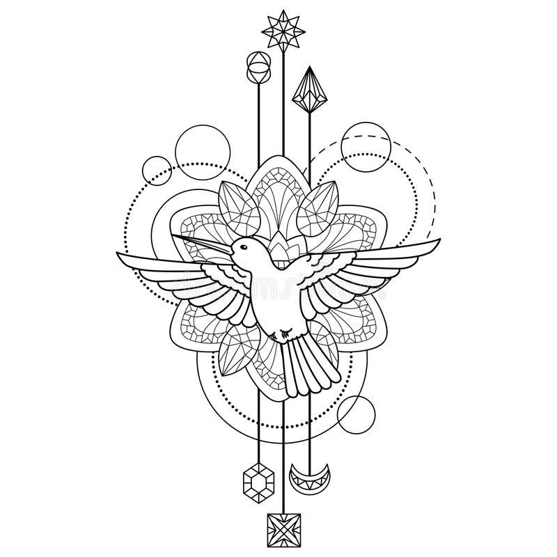 element coloring pages | Geometric colibri symbol stock vector. Illustration of ...