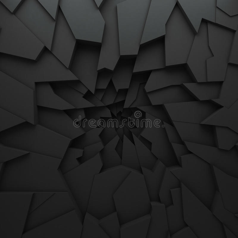 Geometric color abstract polygons, as crack wall. Interior room. The broken coal royalty free illustration