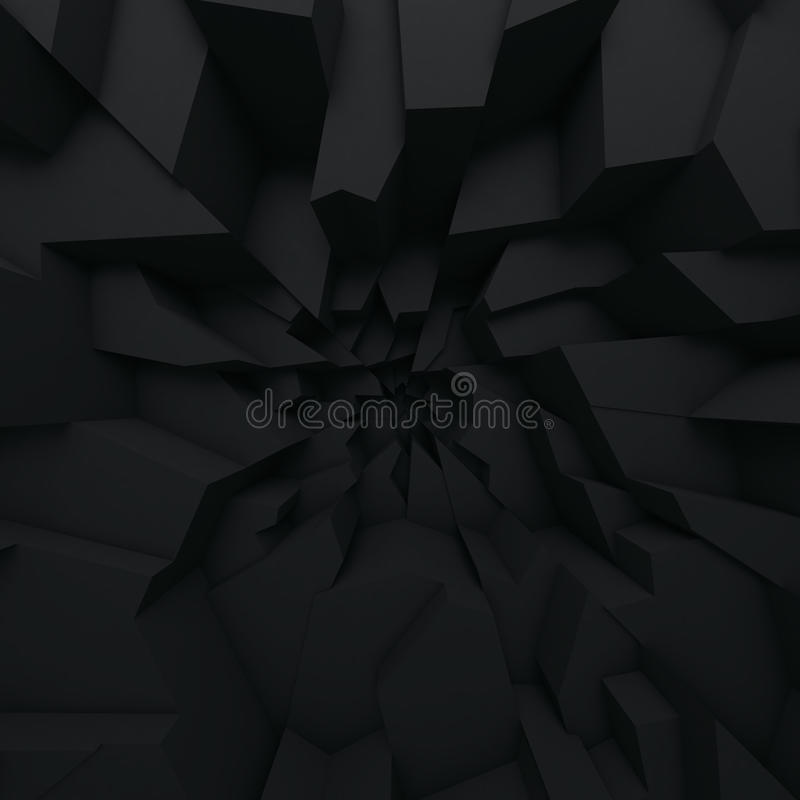 Geometric color abstract polygons, as crack wall. Interior room stock illustration