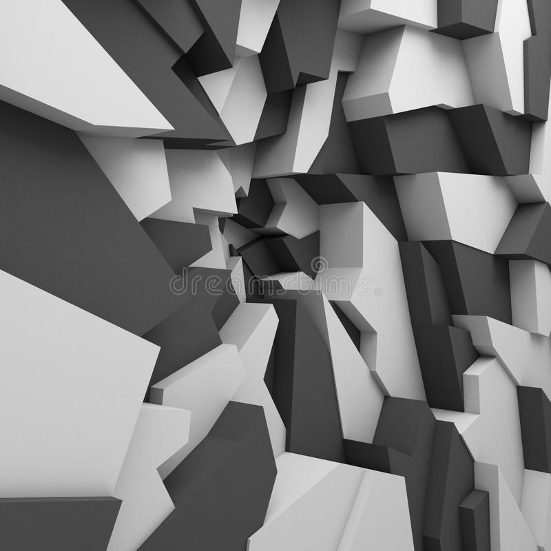 Geometric color abstract polygons wallpaper, as crack wall stock illustration