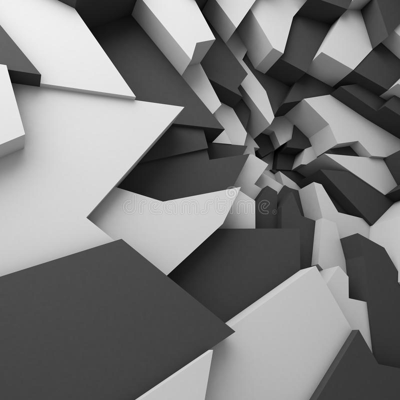 Geometric color abstract polygons wallpaper, as crack wall royalty free illustration