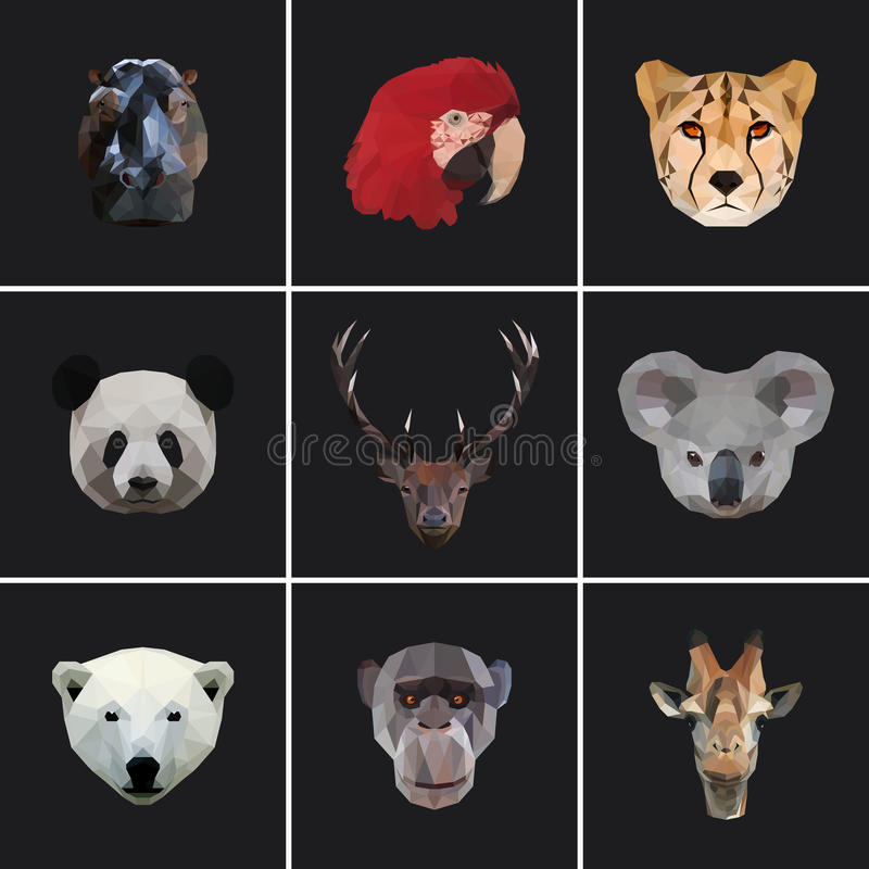 Geometric colored animal set stock illustration