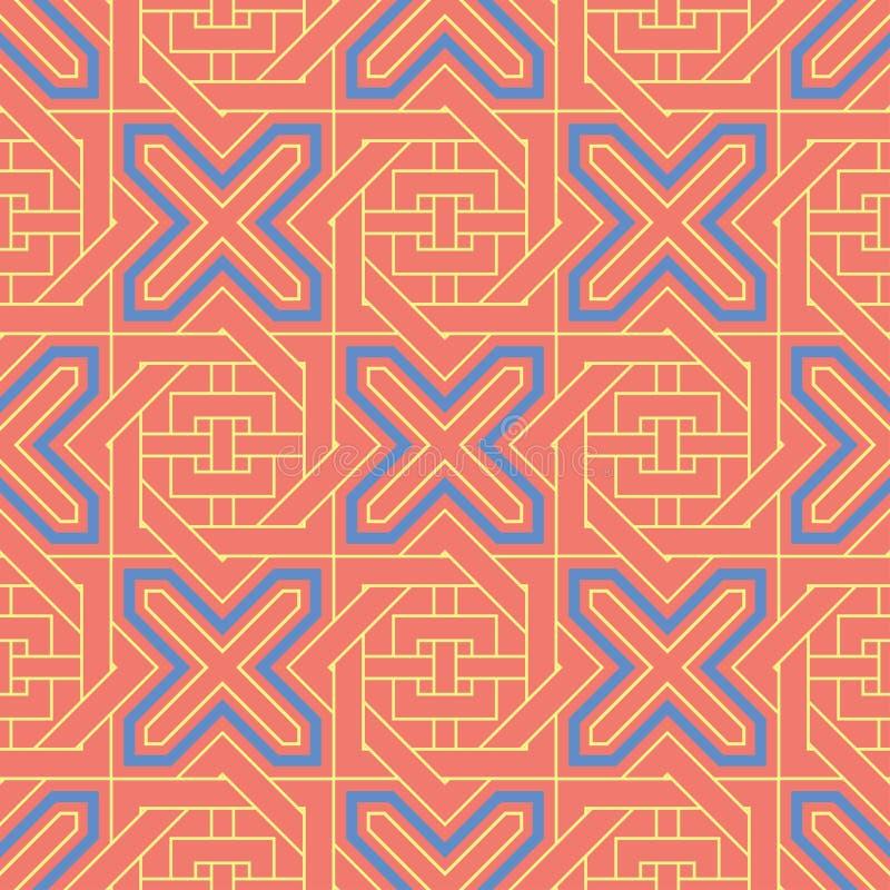 Geometric colored seamless background. Bright elements on orange background royalty free illustration