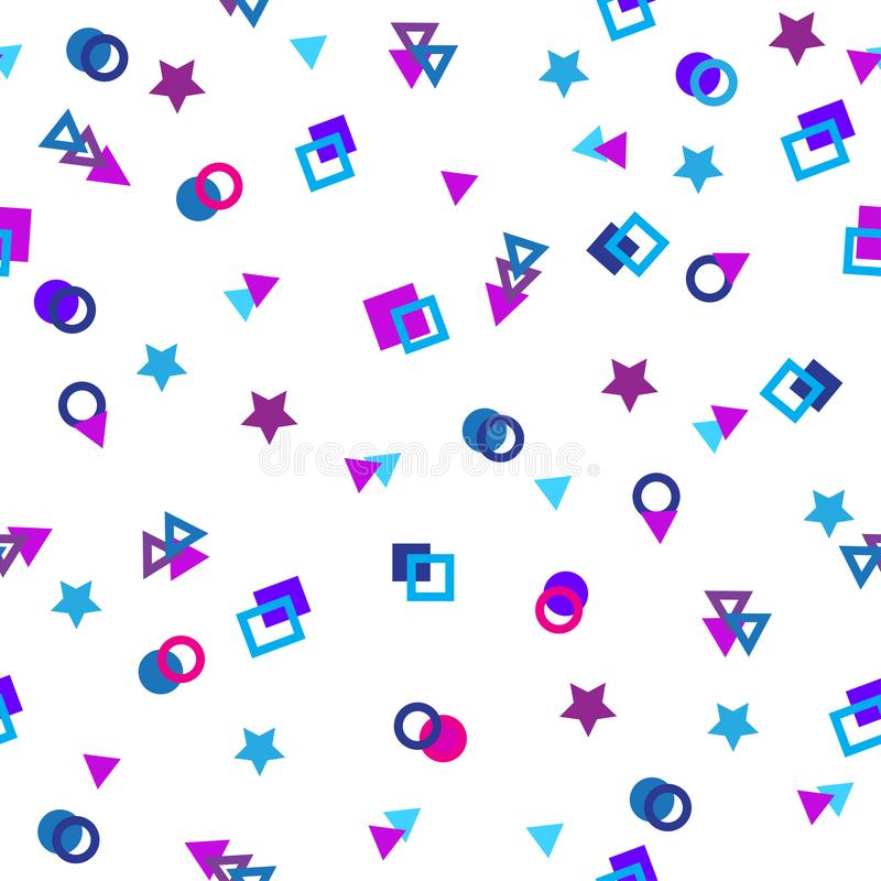 Geometric colored shapes - triangle, circle, square on a white background. A seamless pattern. royalty free illustration