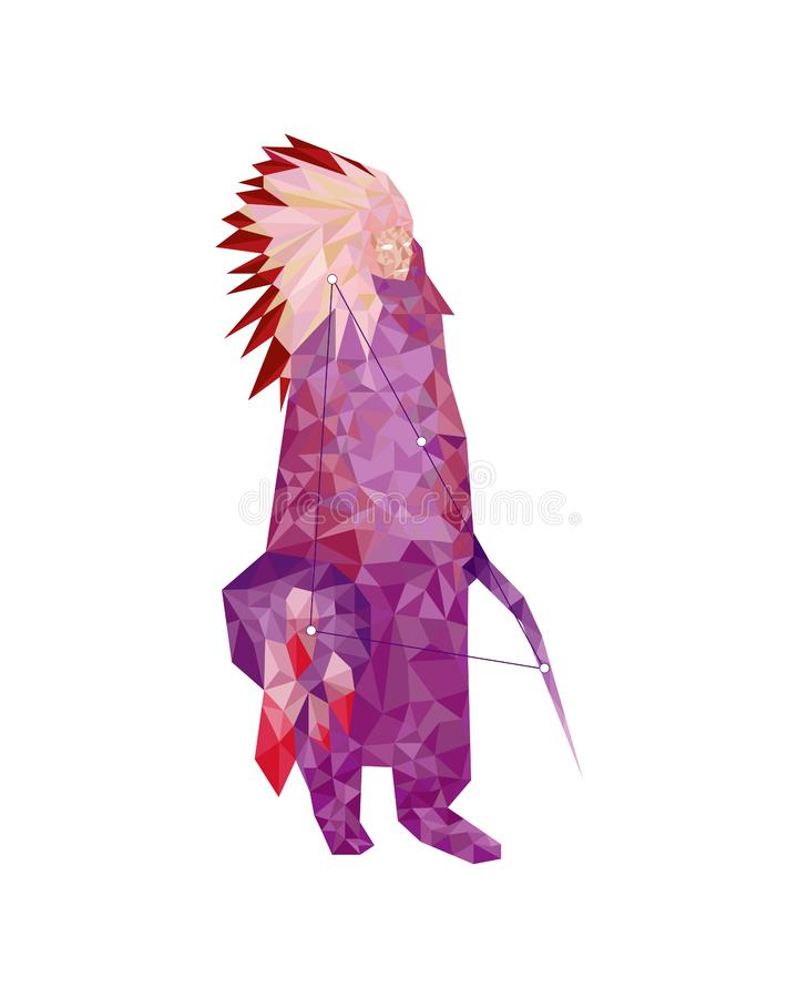 Indian in low-poly style on white background vector illustration