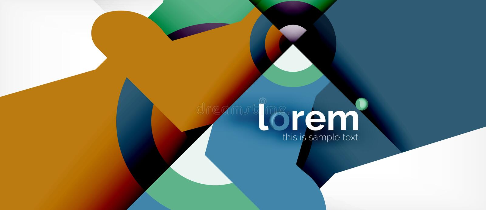 Geometric colorful shapes composition abstract background. Minimal dynamic design royalty free illustration