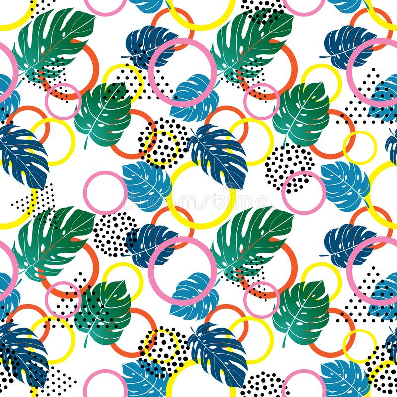 Geometric colorful shapes and tropical leaves seamless pattern royalty free illustration