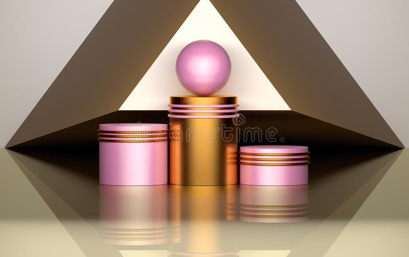 Geometric composition with golden pink pedestals, rings, spheres vector illustration