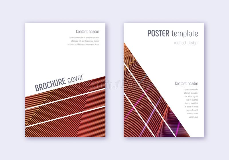 Geometric cover design template set. Orange abstra vector illustration