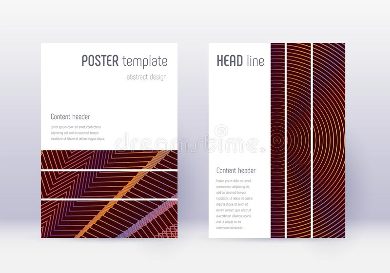 Geometric cover design template set. Orange abstra royalty free illustration