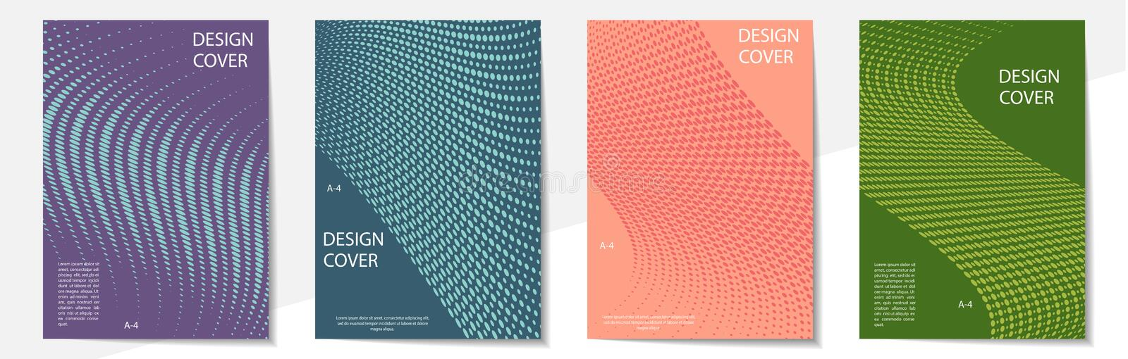 Geometric cover design templates A-4 format. Editable set of layouts for covers of books, magazines, notebooks, albums, booklets. Flat design, modern colors royalty free illustration