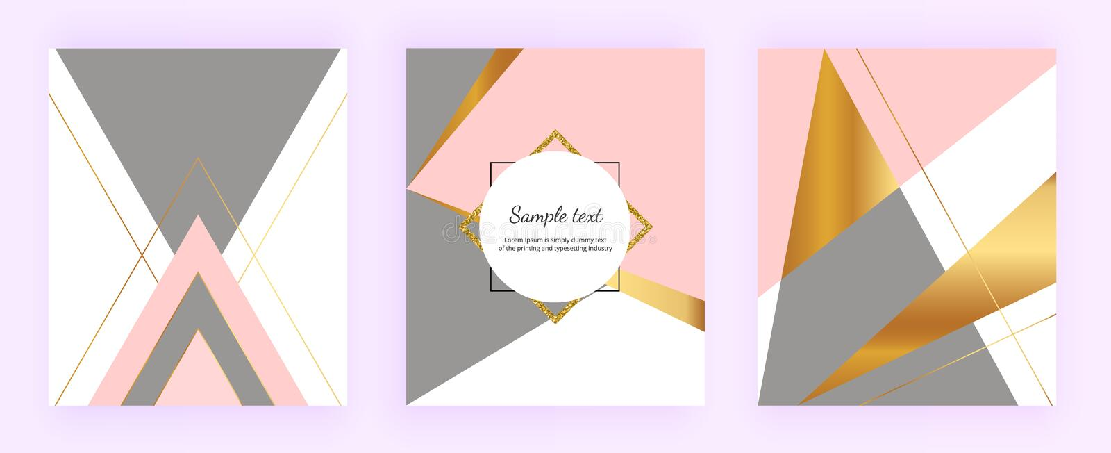 Geometric cover designs, triangles with gold, pink and grey colors background. Template for design invitation, card, banner, weddi royalty free illustration