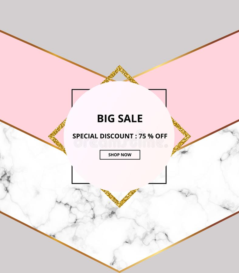 Geometric cover placard, minimalist geometry with white marble or stone texture, pink, grey and gold lines border. Template for de vector illustration