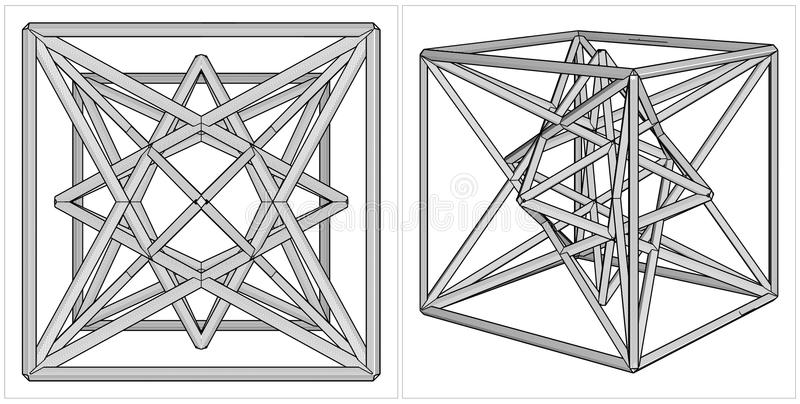 Geometric Creation Of Cube And Pyramid On Its Six Sides Vector Royalty Free Stock Image