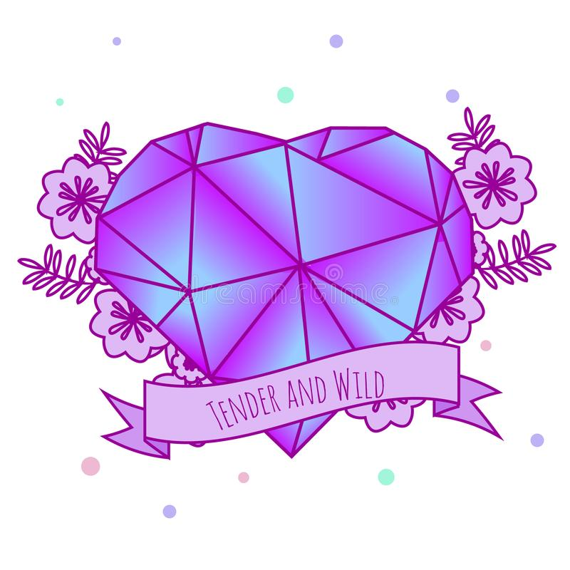 Geometric crystal heart with flowers and inspirational slogan on ribbon. Girls tattoo. Vector illustration in pastel gothic. Print royalty free illustration