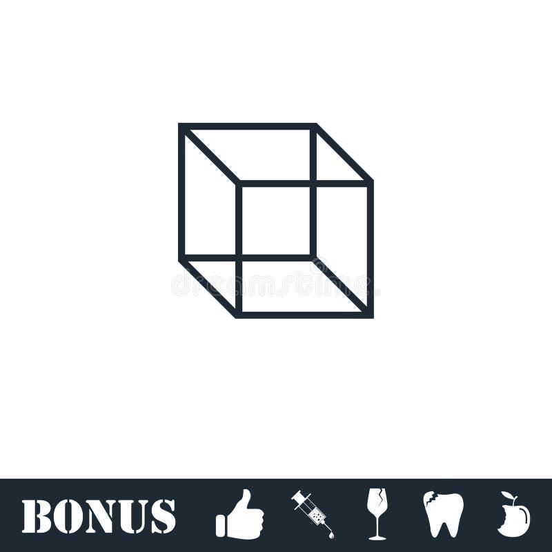 Geometric cube icon flat stock illustration