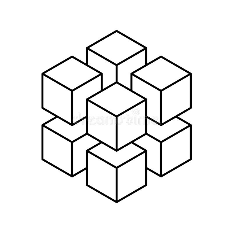 Geometric cube of 8 smaller isometric cubes. Abstract design element. Science or construction concept. Black outline 3D. Vector object stock illustration
