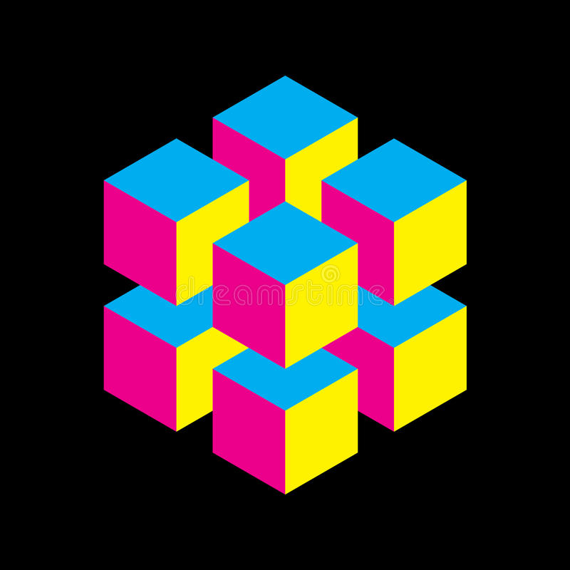Geometric cube of 8 smaller isometric cubes in CMYK colors. Abstract design element. Science or construction concept. 3D stock illustration
