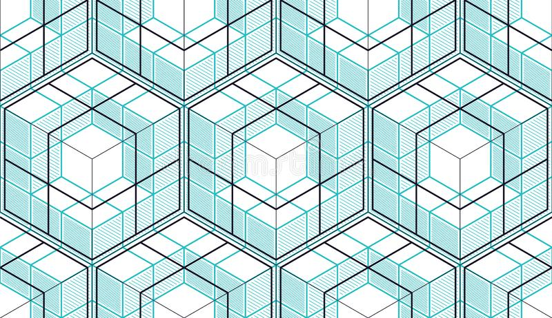 Geometric cubes abstract seamless pattern, 3d vector background. royalty free illustration