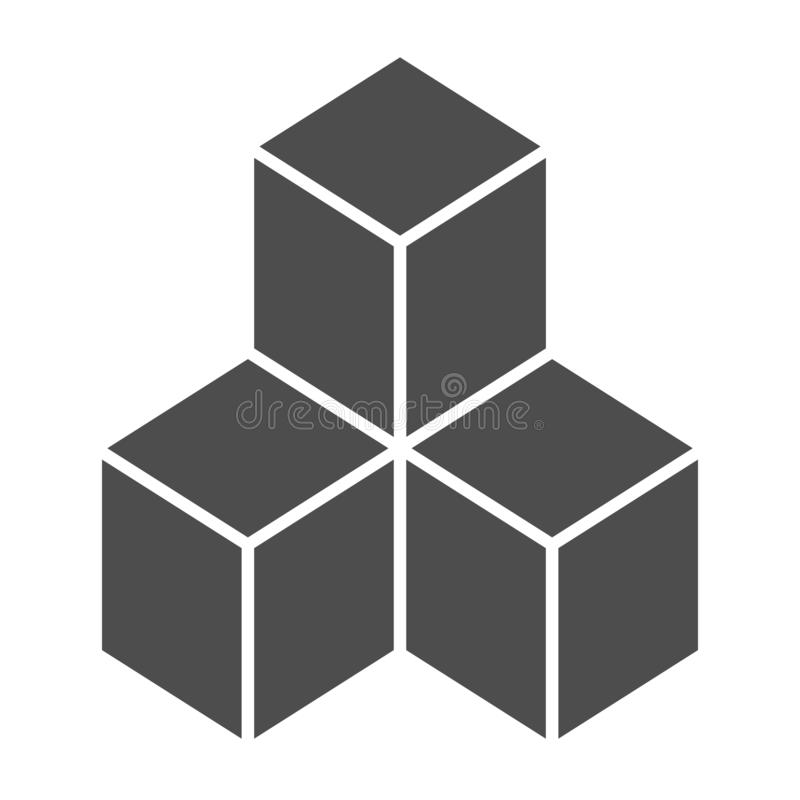 Geometric cubes solid icon. Solution vector illustration isolated on white. Blocks glyph style design, designed for web royalty free illustration