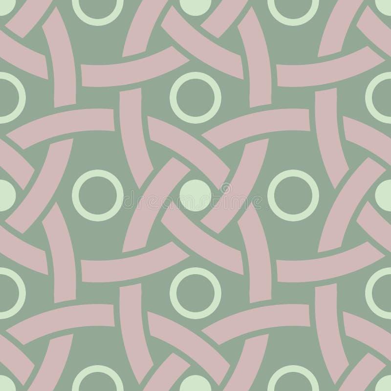Geometric dark green seamless background wth pink elements royalty free illustration
