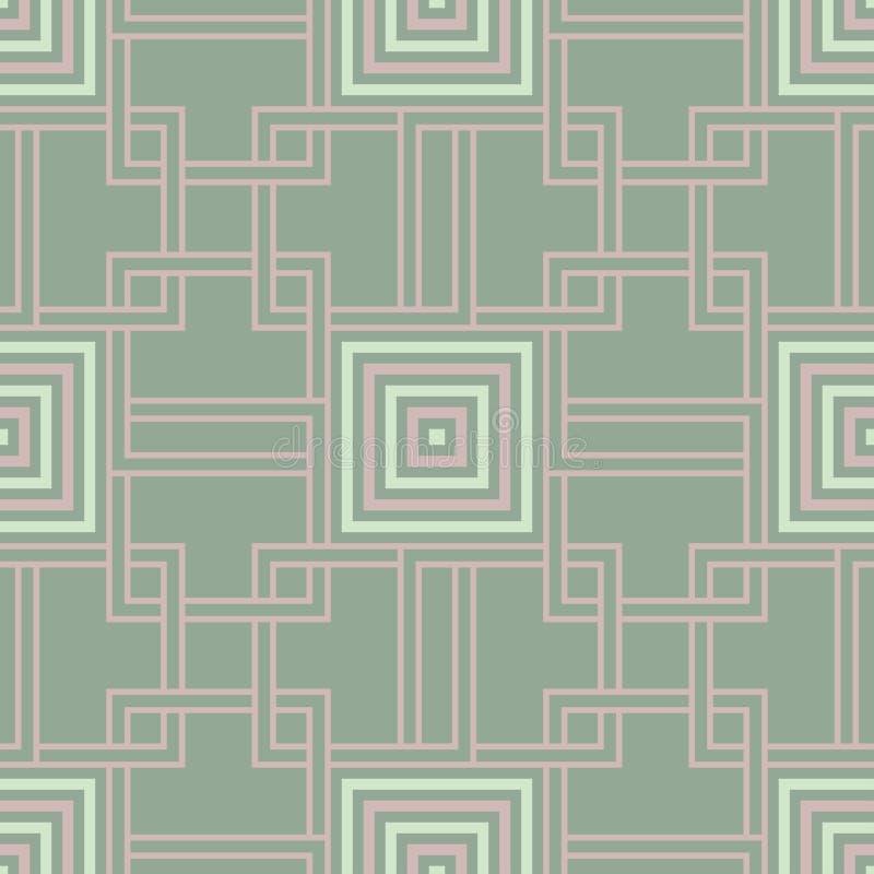 Geometric dark green seamless background wth pink elements stock illustration