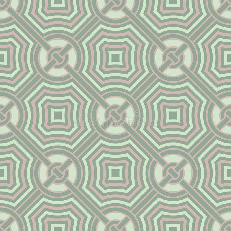 Geometric dark green seamless background wth pink elements vector illustration