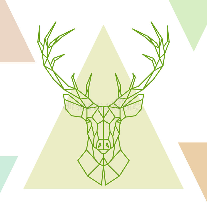 Geometric Deer Head On Colorful Triangles. Stock Vector ...