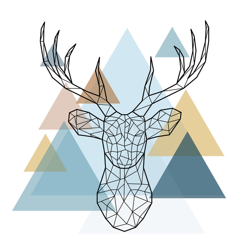 Geometric deer head. Geometric reindeer illustration. Vector low poly line art. Geometric deer head. Scandinavian style vector illustration