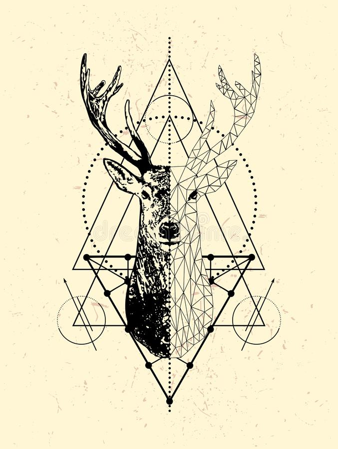 Poligonal deer poster design.Low poly deer head with triangle. Geometric Deer illustration isolated on white background. Vector animal emblem.Vector creative stock illustration