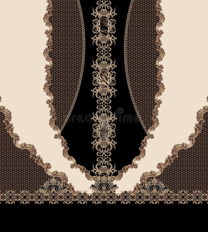 Geometric design black lines fashion beautiful style illustration fabric texture. Barroque vector illustration
