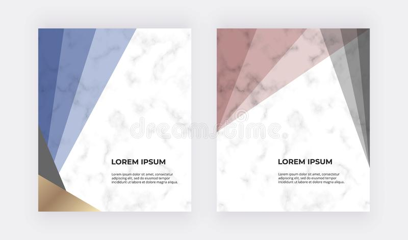 Geometric design with blue, red and gold triangles on the marble texture. Modern templates for wedding invitation, banner, logo, c vector illustration
