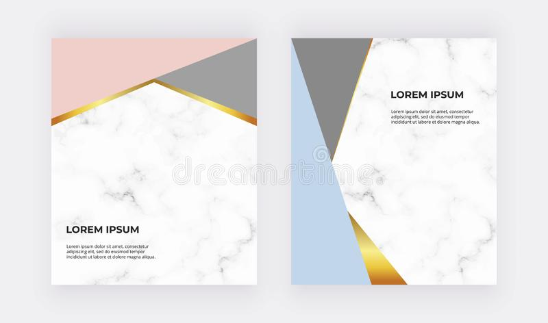 Geometric design cards with blue, pink and gold triangles on the marble texture. Modern templates for wedding invitation, banner, vector illustration