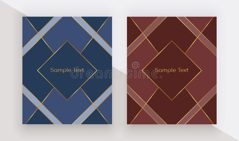 Geometric design with golden lines on the blue and red background. Modern templates for menu, banner, card, flyer, invitation, pro stock illustration