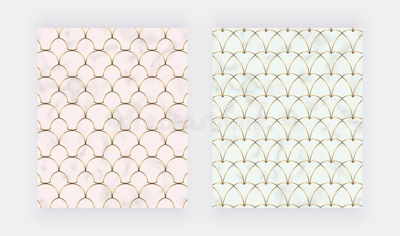 Geometric design with golden lines on the marble texture. stock illustration