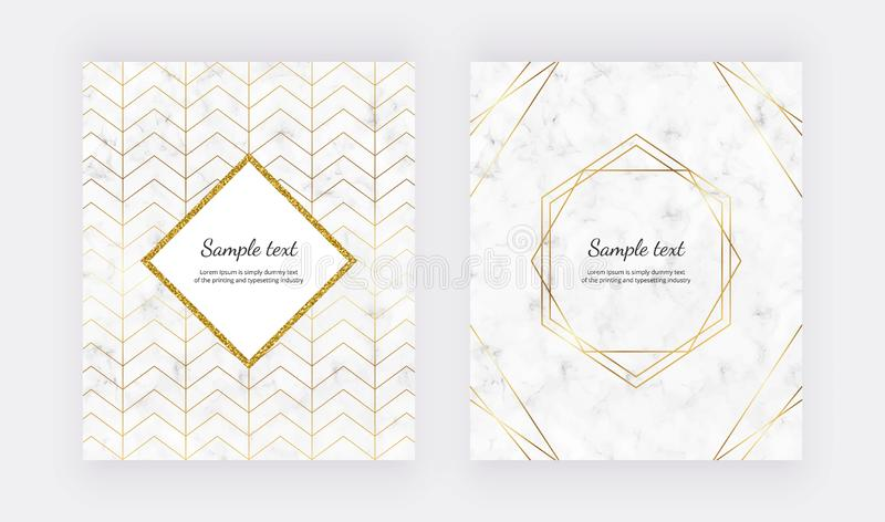 Geometric design with golden polygonal lines on the marble texture. Golden glitter polygonal frame. Modern templates for wedding i vector illustration