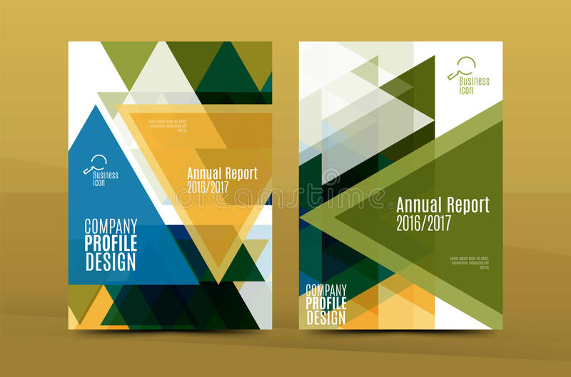 Geometric design A4 size cover print template stock illustration