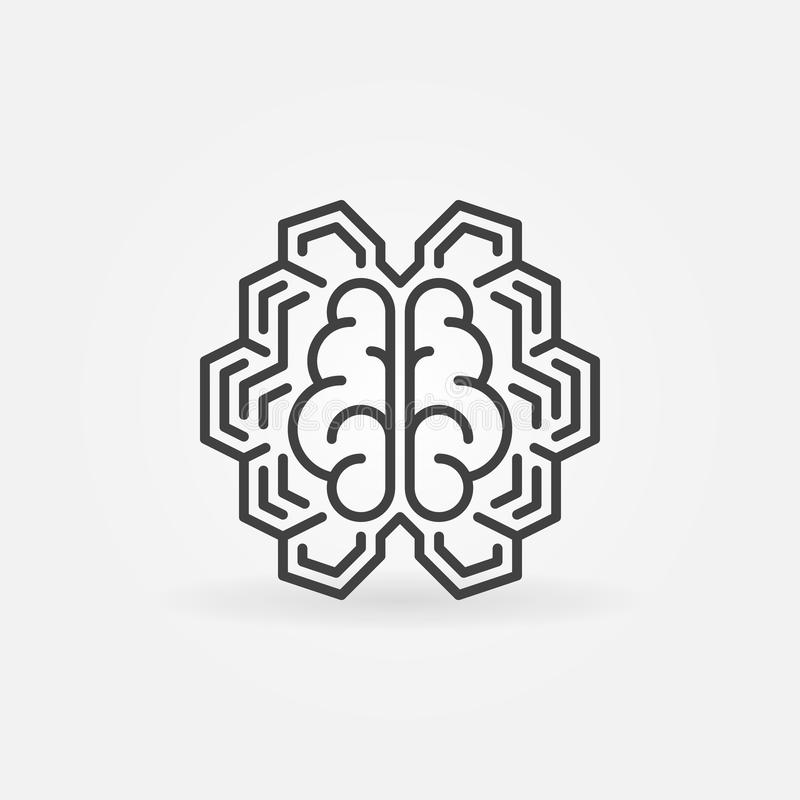 Geometric digital brain line icon. Vector AI concept sign. Geometric digital brain line icon. Vector artificial intelligence cyberbrain concept sign stock illustration
