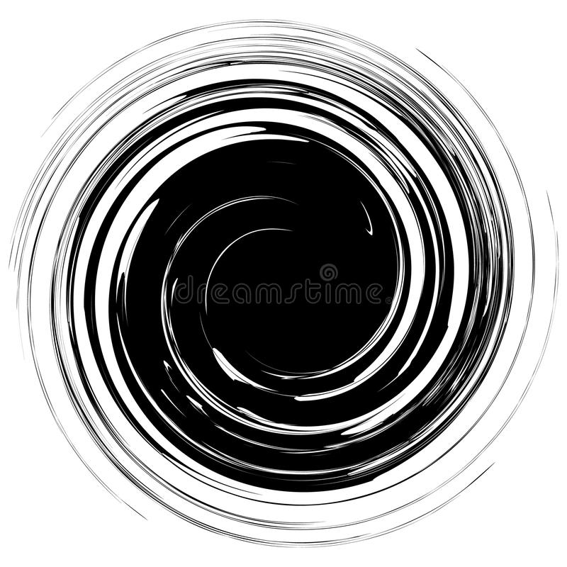 Geometric edgy spiral shape. Swirl, vortex with textured concentric lines. royalty free illustration
