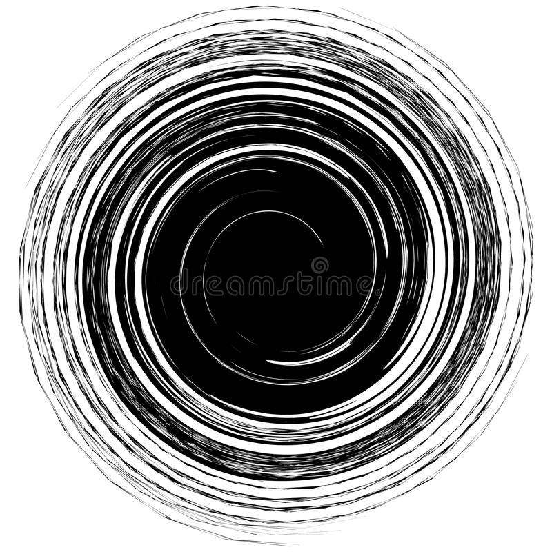 Geometric edgy spiral shape. Swirl, vortex with textured concentric lines. vector illustration