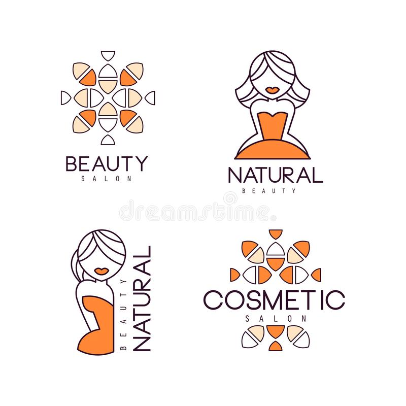 Geometric emblems for beauty salon or natural cosmetics. Outline logos with orange fill. Vector labels with women stock illustration