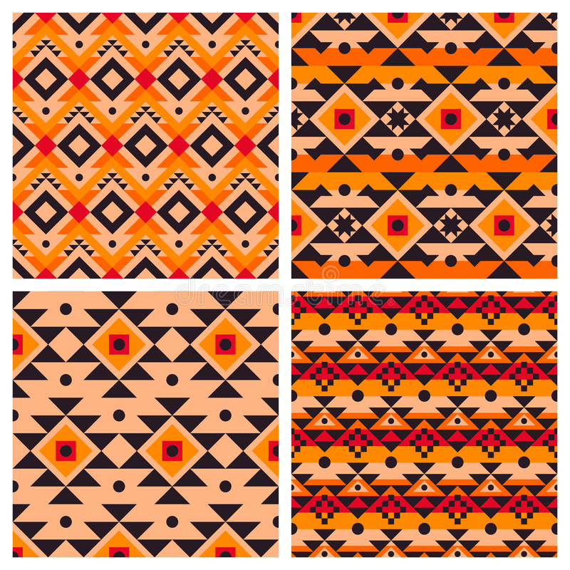 Geometric ethnic aztec mexican seamless patterns royalty free illustration