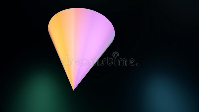 Geometric figure on black background. Abstract animation of moving multicolored triangular cone in space on black stock illustration