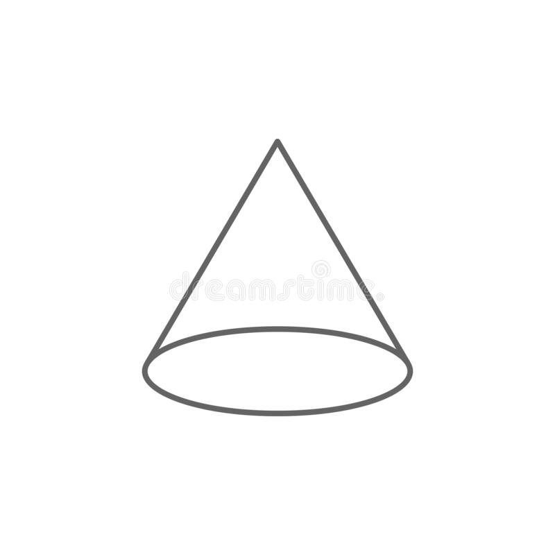 Geometric figures, cone outline icon. Elements of geometric figures illustration icon. Signs and symbols can be used for web, logo vector illustration