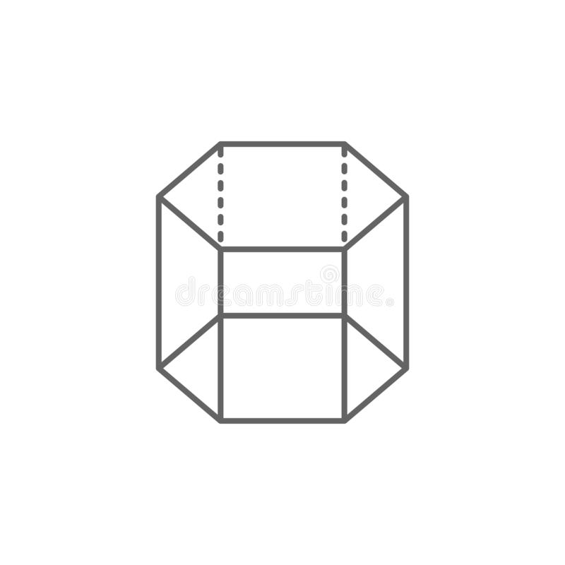 Geometric figures, hexagonal prism outline icon. Elements of geometric figures illustration icon. Signs and symbols can be used royalty free illustration