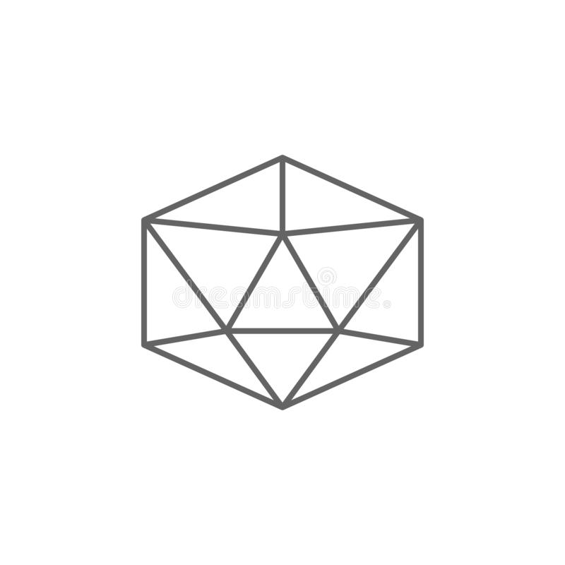 Geometric figures, icosahedron outline icon. Elements of geometric figures illustration icon. Signs and symbols can be used for stock illustration