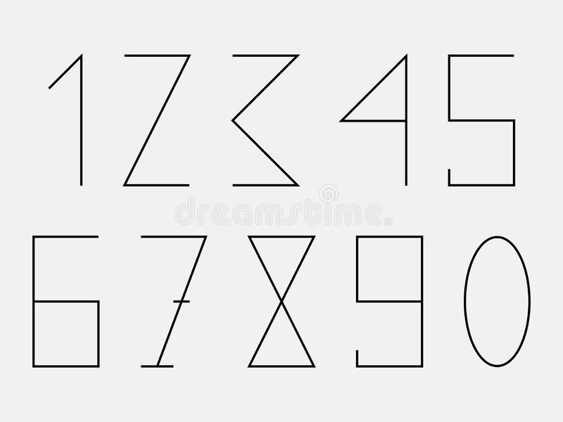 Geometric figures numbers 1 2 3 4 5 6 7 8 9 0 Vector illustration modern set royalty free stock images