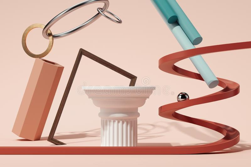 Geometric figures and objects on pink background. 3d rendering. royalty free illustration